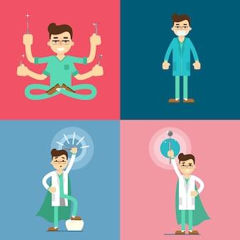 Conjunto de personagens de desenhos animados de dentista masculino