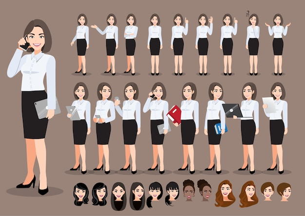 Conjunto de personagens de desenhos animados de empresária. mulher de negócios bonita em camisa inteligente de estilo de escritório. ilustração
