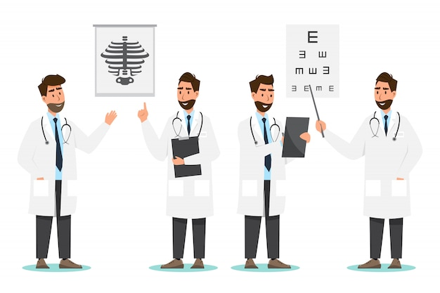 Conjunto de personagens de desenhos animados de médico. conceito de equipe de equipe médica no hospital