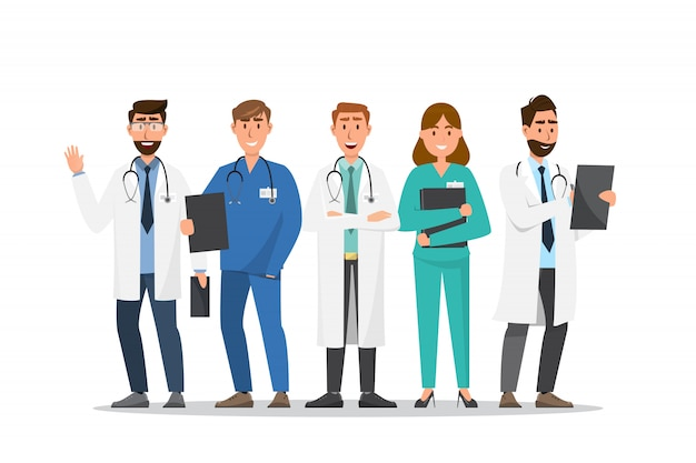 Conjunto de personagens de desenhos animados de médico e enfermeiro