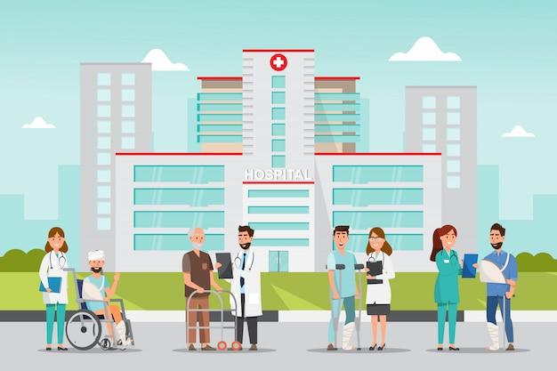 Conjunto de personagens de desenhos animados de médico e paciente.