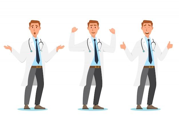 Conjunto de personagens de desenhos animados de médico