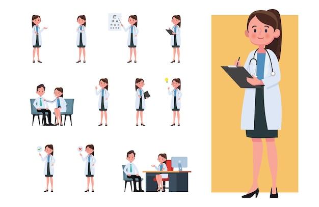 Conjunto de personagens de desenhos animados de médicos