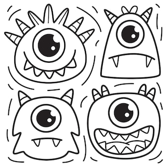 Conjunto de personagens de desenhos animados de monstros