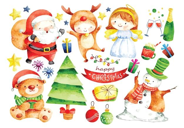 Conjunto de personagens de desenhos animados de natal em aquarela