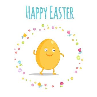 Conjunto de personagens de desenhos animados de páscoa kawaii bonitos com letras. doces de páscoa, ovos, coelho e garota. ilustração em vetor kawaii bonita para etiqueta do cartaz do cartão. letras de páscoa feliz.