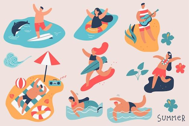 Conjunto de personagens de desenhos animados de pessoas do verão
