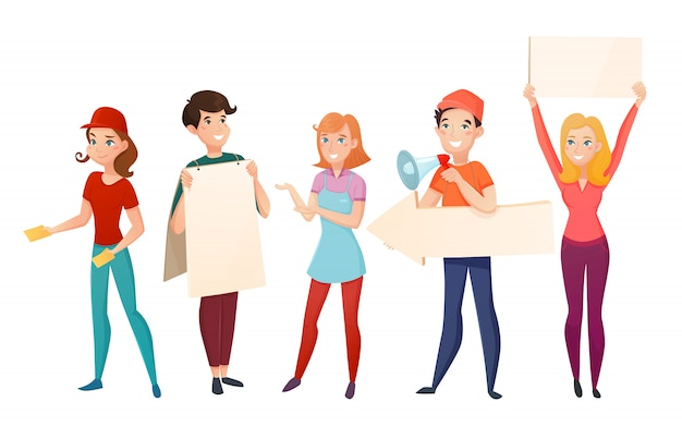Conjunto de personagens de desenhos animados de pessoas promotores