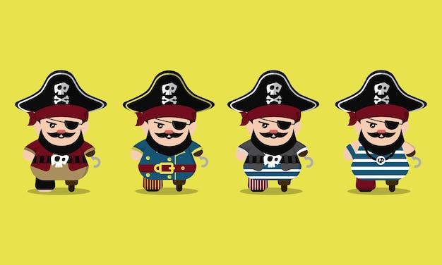 Conjunto de personagens de desenhos animados de pirata fofo