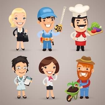 Conjunto de personagens de desenhos animados de profissões