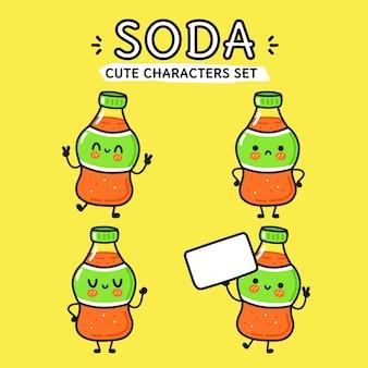 Conjunto de personagens de desenhos animados de refrigerante feliz engraçado fofo