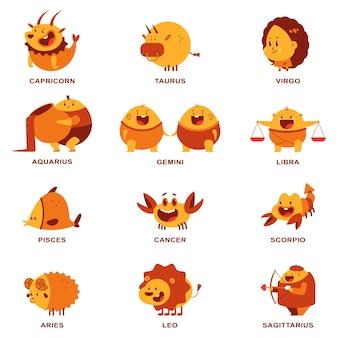 Conjunto de personagens de desenhos animados de signos do zodíaco fofos