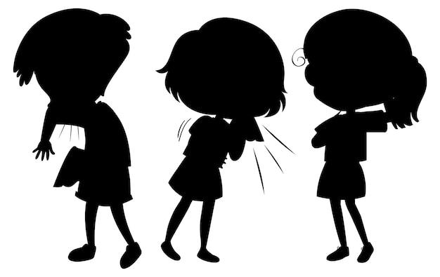 Conjunto de personagens de desenhos animados de silhueta de crianças
