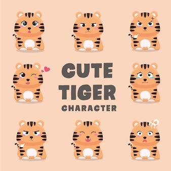 Conjunto de personagens de desenhos animados de tigre fofo