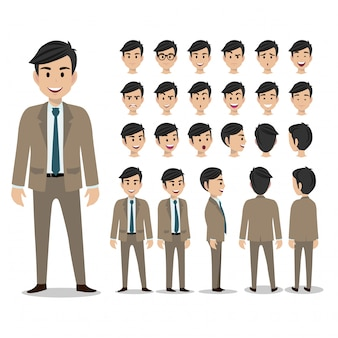 Conjunto de personagens de desenhos animados de um empresário