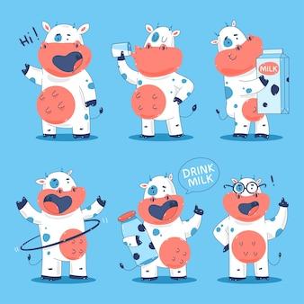 Conjunto de personagens de desenhos animados de vacas fofas