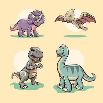 Conjunto de personagens de desenhos animados de vários dinossauros isolados