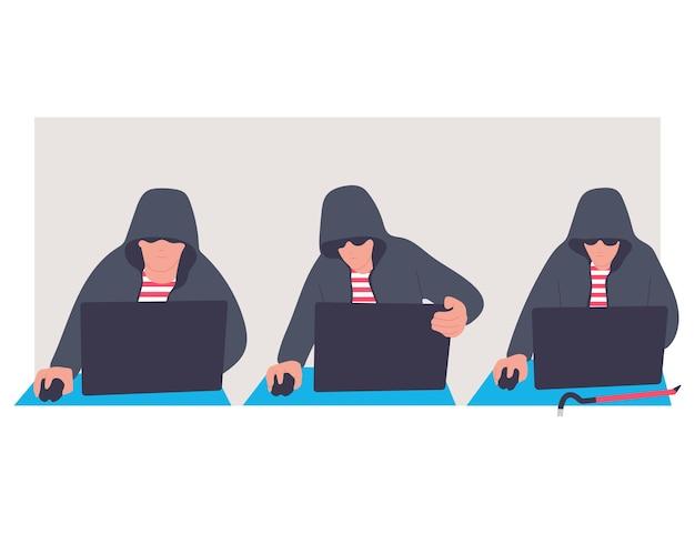 Conjunto de personagens de desenhos animados de vetor de hacker isolado em um fundo branco.