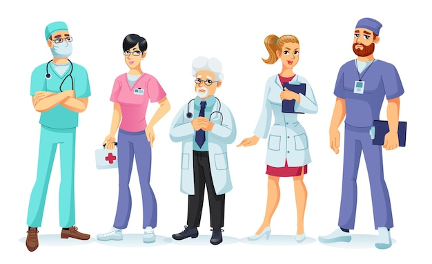 Conjunto de personagens de desenhos animados de vetor de médicos e enfermeiras de uniforme.