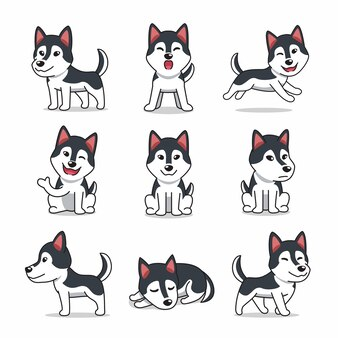 Conjunto de personagens de desenhos animados do cão husky siberiano