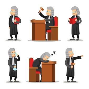 Conjunto de personagens de desenhos animados do juiz. lei e justiça.