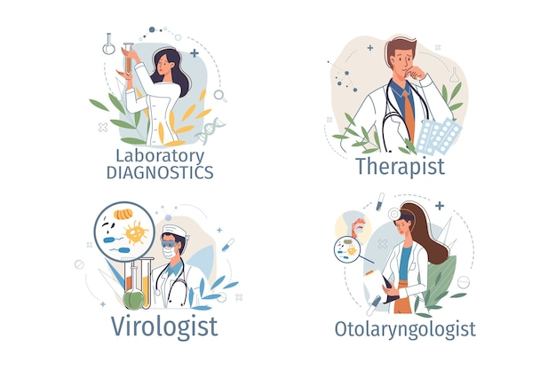 Conjunto de personagens de desenhos animados do médico de uniforme, jaleco com dispositivos médicos e símbolos