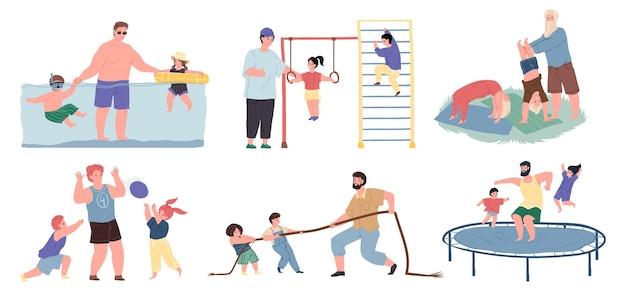 Conjunto de personagens de desenhos animados do vetor pai e filhos praticando esportes juntos, nadando na piscina, jogando bola, cabo de guerra, fazendo ginástica, pulando na cama elástica - conceito de relações familiares saudáveis esportivas, design de site da web