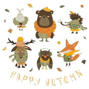 Conjunto de personagens de desenhos animados e elementos de outono