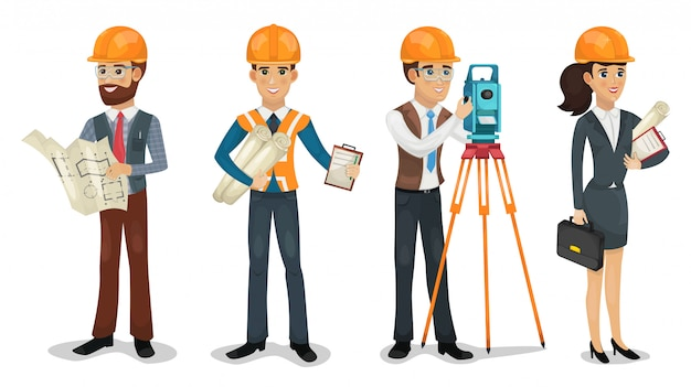 Conjunto de personagens de desenhos animados. engenheiro civil, topógrafo, arquiteto e trabalhadores da construção civil ilustração isolada.