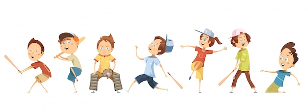 Conjunto de personagens de desenhos animados engraçados crianças em poses diferentes, jogando beisebol plana
