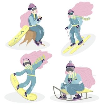 Conjunto de personagens de desenhos animados femininos isolados. atividades de inverno: esqui, snowboard, trenó.