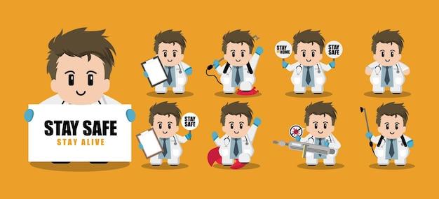 Conjunto de personagens de desenhos animados fofo de médico