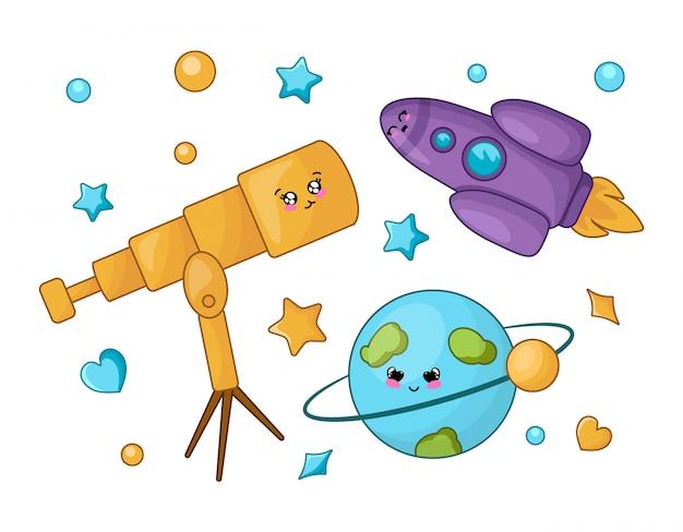 Conjunto de personagens de desenhos animados kawaii - telescópio, planeta, foguete, estrela. de volta ao conceito de escola