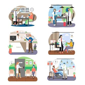 Conjunto de personagens de desenhos animados médico e paciente, masculino e feminino