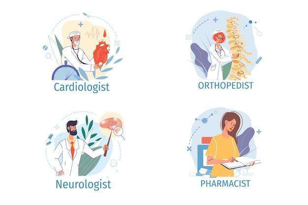 Conjunto de personagens de desenhos animados médico em uniforme, jaleco com dispositivos médicos e símbolos - vários conceitos de carreira de profissões médicas