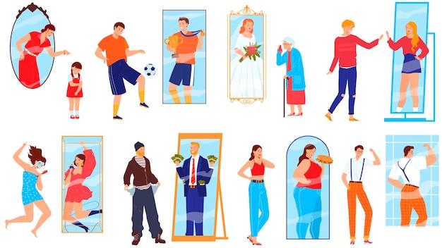 Conjunto de personagens de desenhos animados mulher olhando no espelho