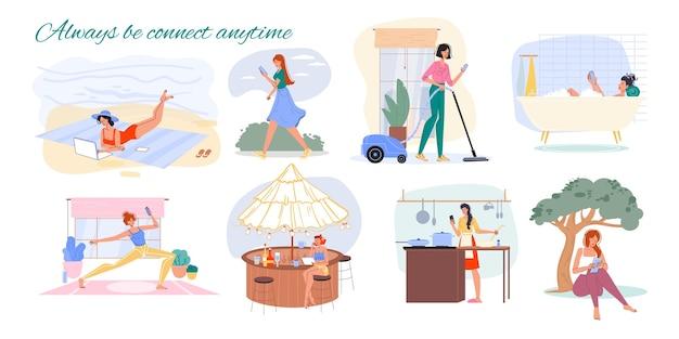Conjunto de personagens de desenhos animados navegando na internet em ambientes internos e externos