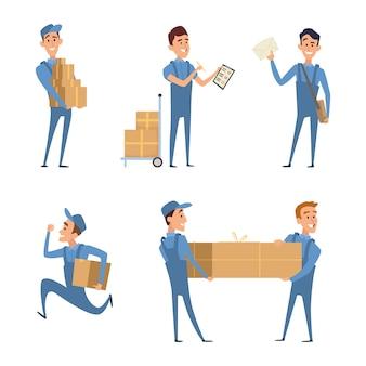 Conjunto de personagens de desenhos animados no trabalho de serviço de entrega