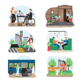 Conjunto de personagens de desenhos animados para pessoas com deficiência e deficiência visual