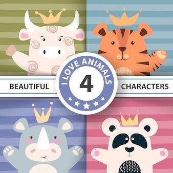 Conjunto de personagens de desenhos animados - touro, panda, tigre, rinoceronte
