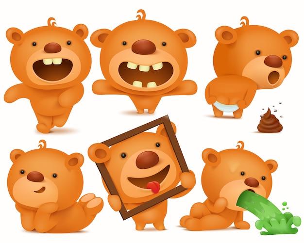 Conjunto de personagens de desenhos animados ursinho com emoções diferentes.