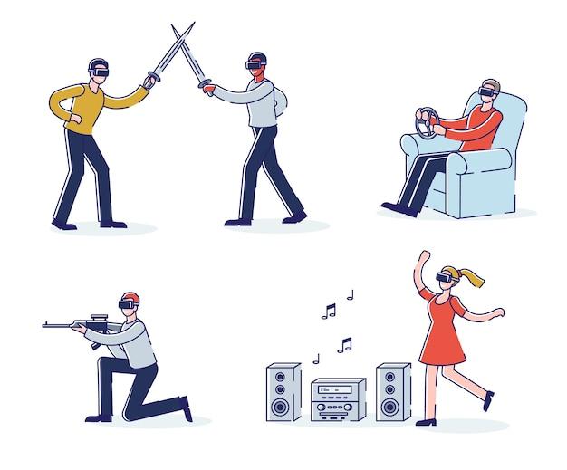 Conjunto de personagens de desenhos animados usando fone de ouvido vr. realidade virtual e tecnologia de simulação para o conceito de jogo