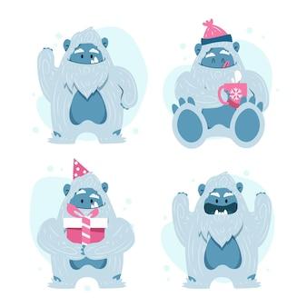 Conjunto de personagens de desenhos animados yeti abominável boneco de neve