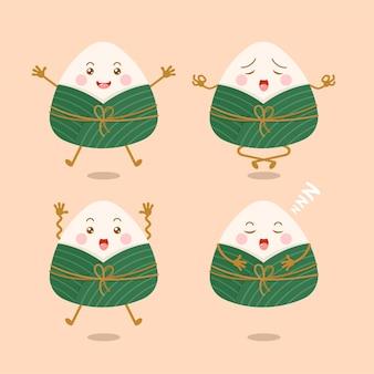 Conjunto de personagens de desenhos animados zongzi, bolinhos de arroz pegajoso chineses fofos e kawaii