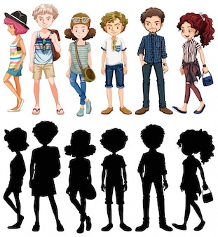 Conjunto de personagens de desenhos animados