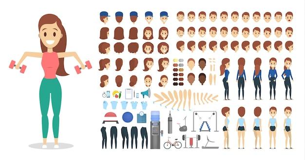 Conjunto de personagens de desportista para a animação com várias vistas