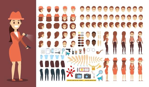 Conjunto de personagens de detetive para a animação com várias vistas