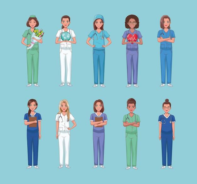 Conjunto de personagens de dez trabalhadores da equipe de enfermagem