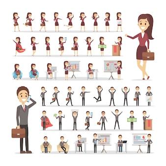 Conjunto de personagens de empresário e mulher de negócios ou trabalhador de escritório em ternos com várias poses, emoções de rosto e gestos. ilustração