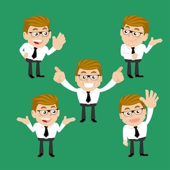 Conjunto de personagens de empresário em diferentes poses